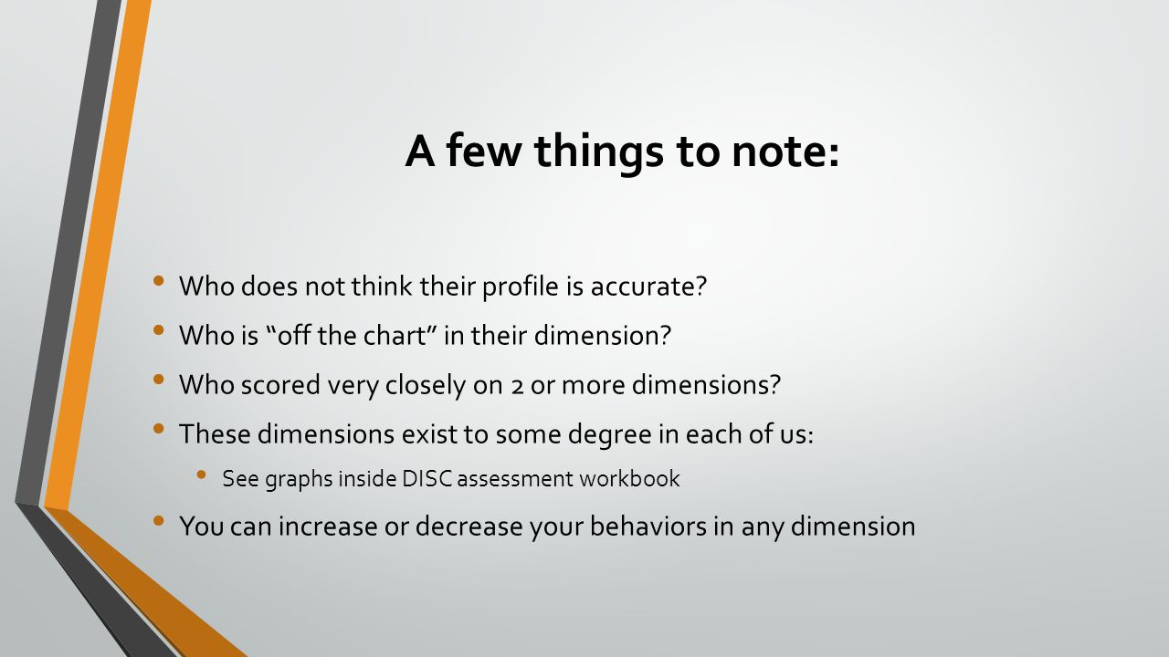 """A few things to note: Who does not think their profile is accurate? Who is """"off the chart"""" in their dimension? Who scored very closely on 2 or more di"""