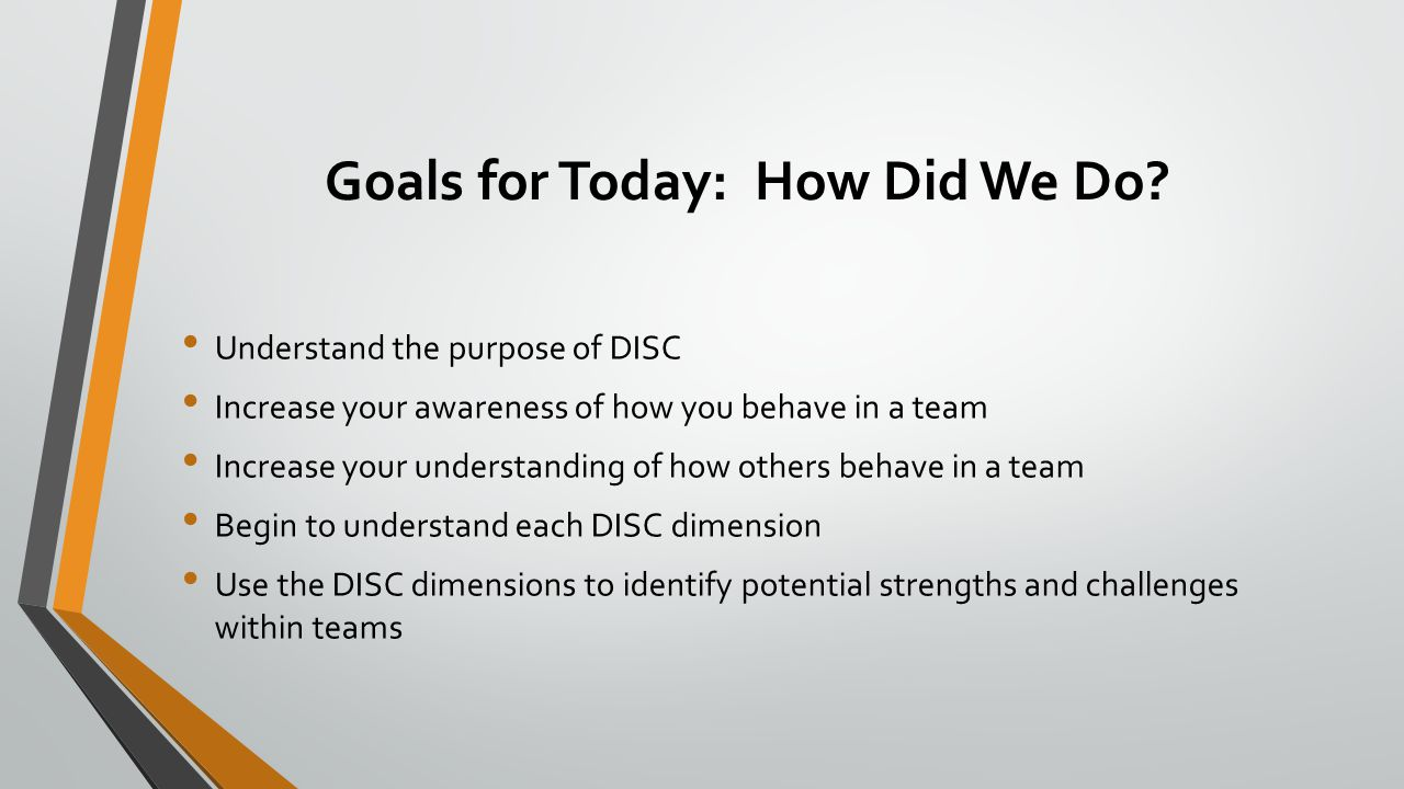 Goals for Today: How Did We Do? Understand the purpose of DISC Increase your awareness of how you behave in a team Increase your understanding of how