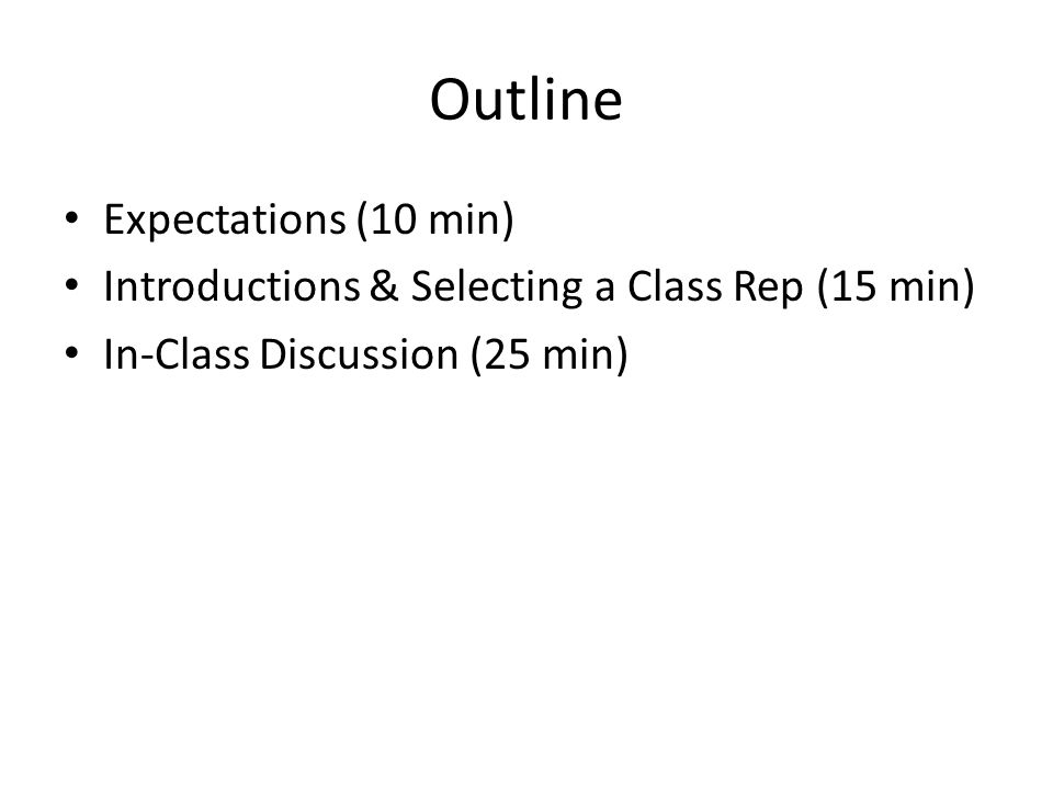 Outline Expectations (10 min) Introductions & Selecting a Class Rep (15 min) In-Class Discussion (25 min)