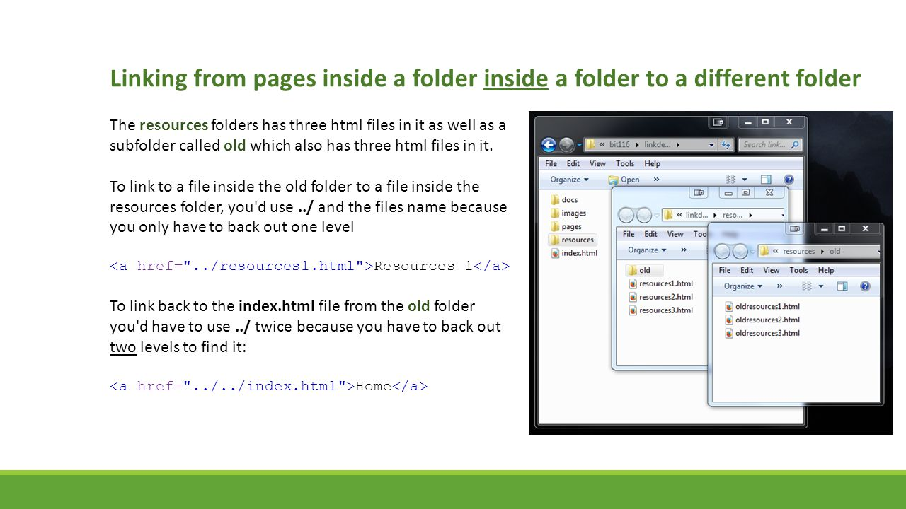 Linking from pages inside a folder inside a folder to a different folder The resources folders has three html files in it as well as a subfolder calle