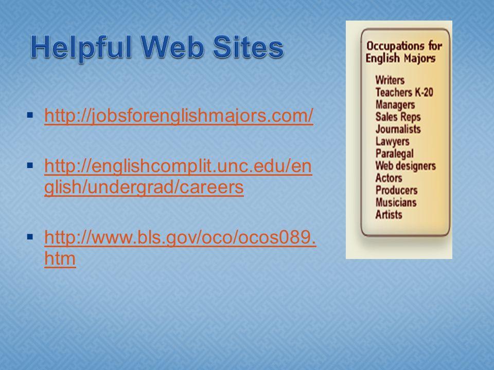  http://jobsforenglishmajors.com/ http://jobsforenglishmajors.com/  http://englishcomplit.unc.edu/en glish/undergrad/careers http://englishcomplit.unc.edu/en glish/undergrad/careers  http://www.bls.gov/oco/ocos089.