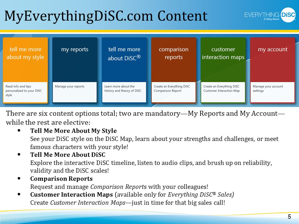 MyEverythingDiSC.com Content There are six content options total; two are mandatory—My Reports and My Account— while the rest are elective: Tell Me More About My Style See your DiSC style on the DiSC Map, learn about your strengths and challenges, or meet famous characters with your style.