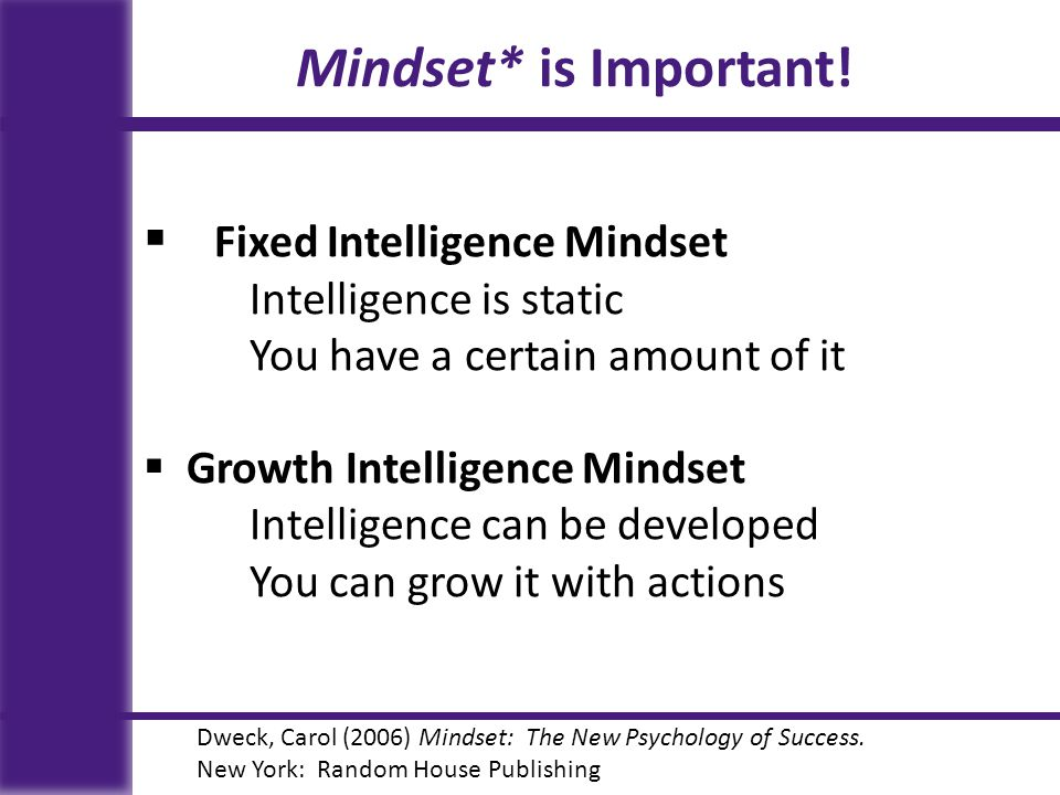 Mindset* is Important.