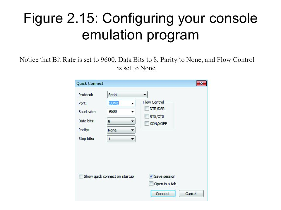 Figure 2.15: Configuring your console emulation program Notice that Bit Rate is set to 9600, Data Bits to 8, Parity to None, and Flow Control is set t