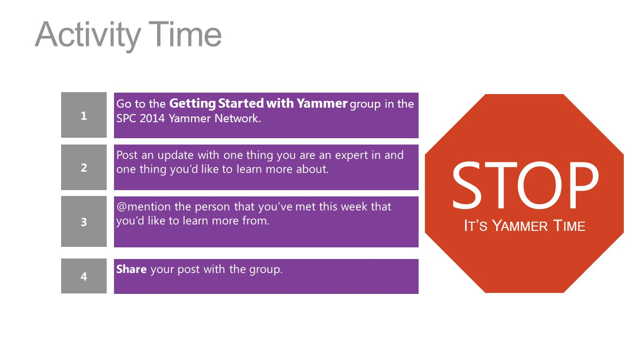 Activity Time Go to the Getting Started with Yammer group in the SPC 2014 Yammer Network.
