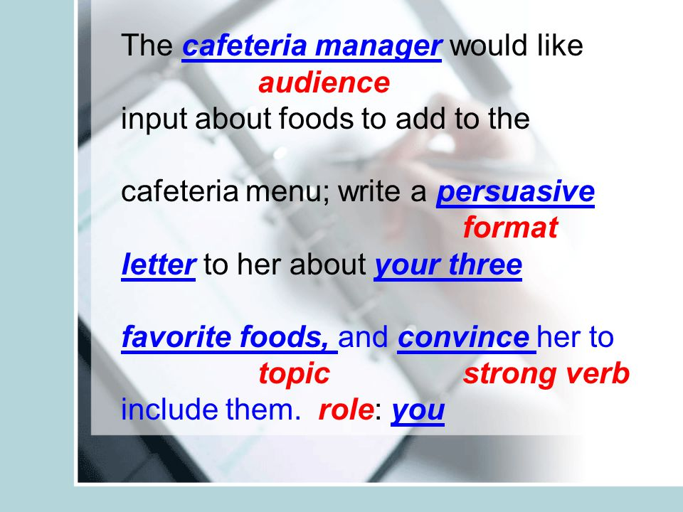 The cafeteria manager would like audience input about foods to add to the cafeteria menu; write a persuasive format letter to her about your three fav