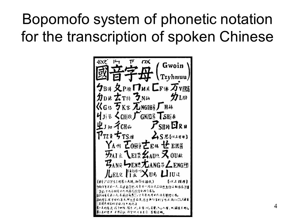 Bopomofo system of phonetic notation for the transcription of spoken Chinese 4