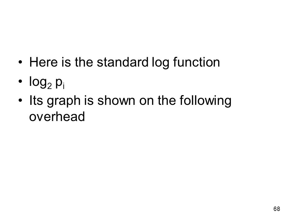 Here is the standard log function log 2 p i Its graph is shown on the following overhead 68