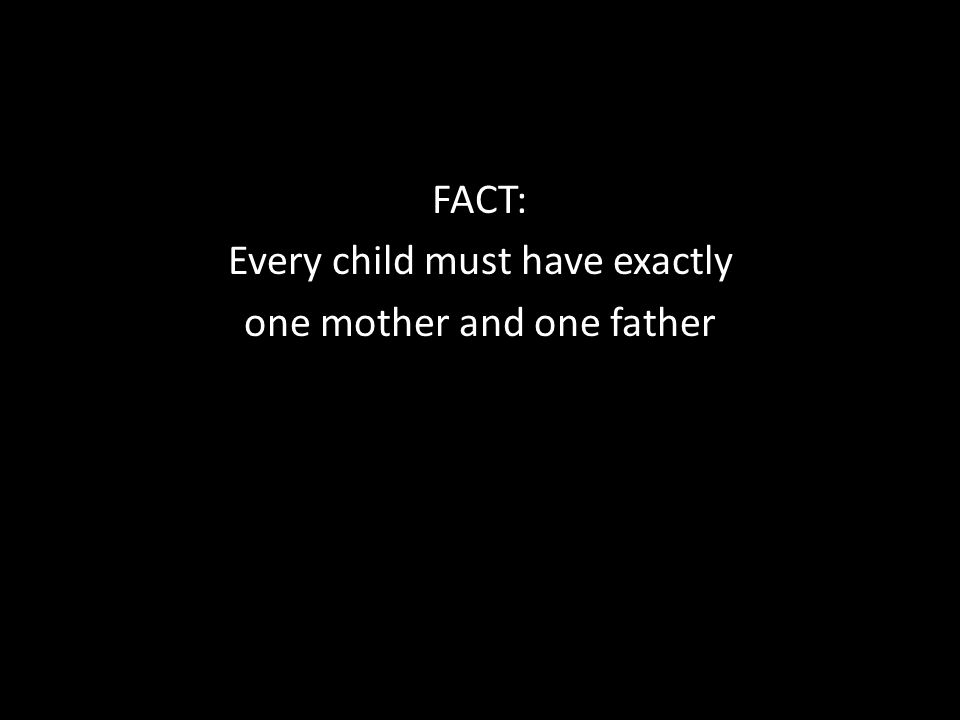 FACT: Every child must have exactly one mother and one father