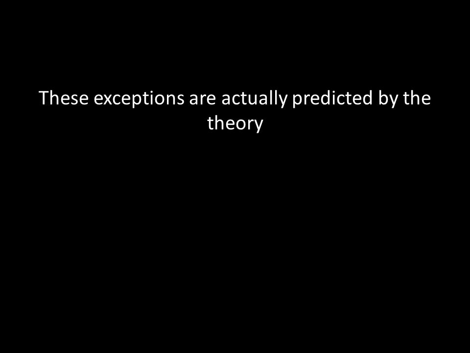 These exceptions are actually predicted by the theory
