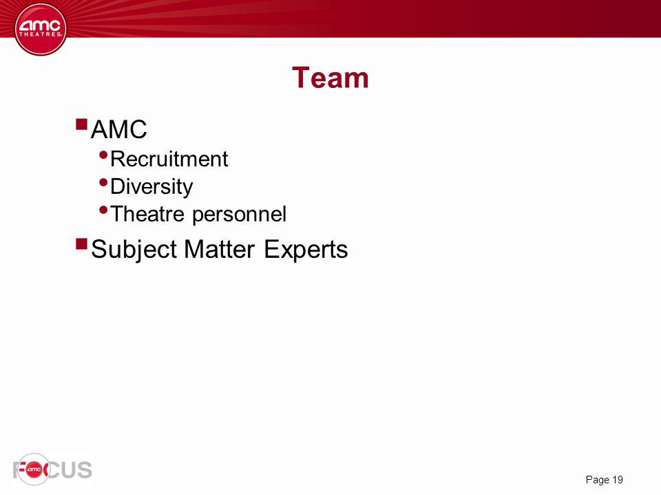 Page 19 Team  AMC Recruitment Diversity Theatre personnel  Subject Matter Experts