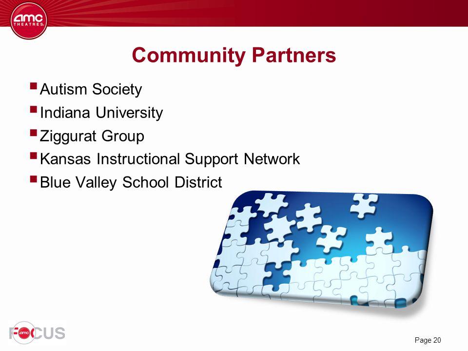 Page 20 Community Partners  Autism Society  Indiana University  Ziggurat Group  Kansas Instructional Support Network  Blue Valley School District