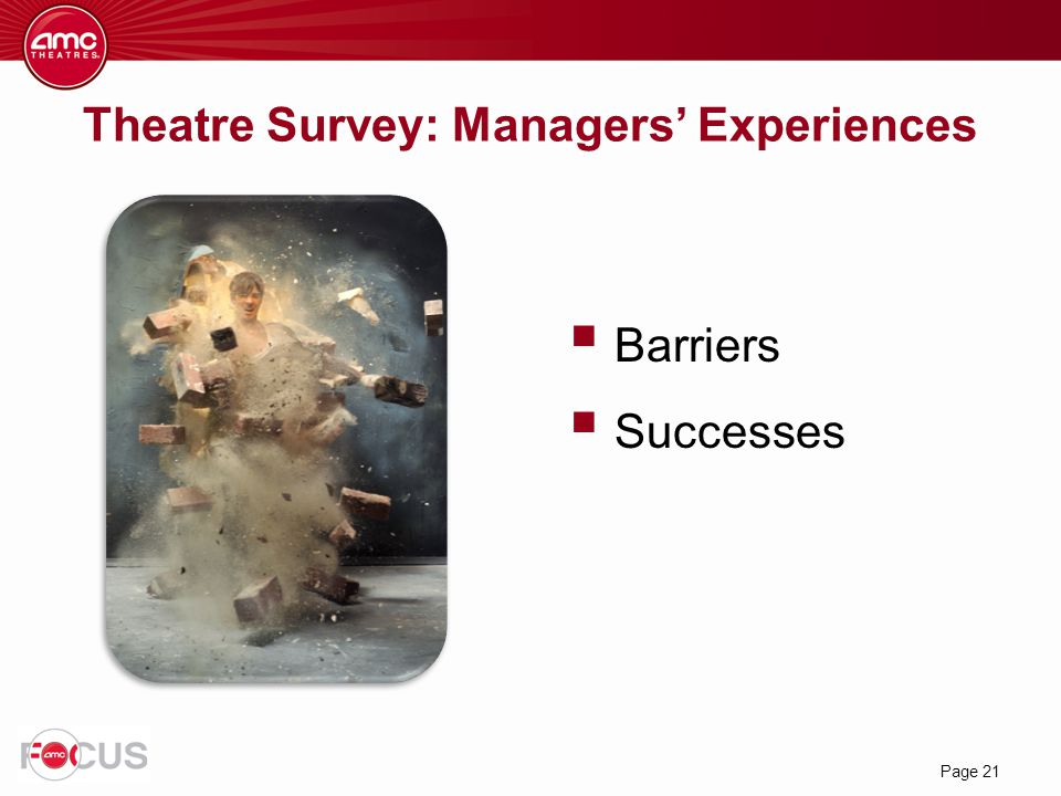 Page 21 Theatre Survey: Managers' Experiences  Barriers  Successes