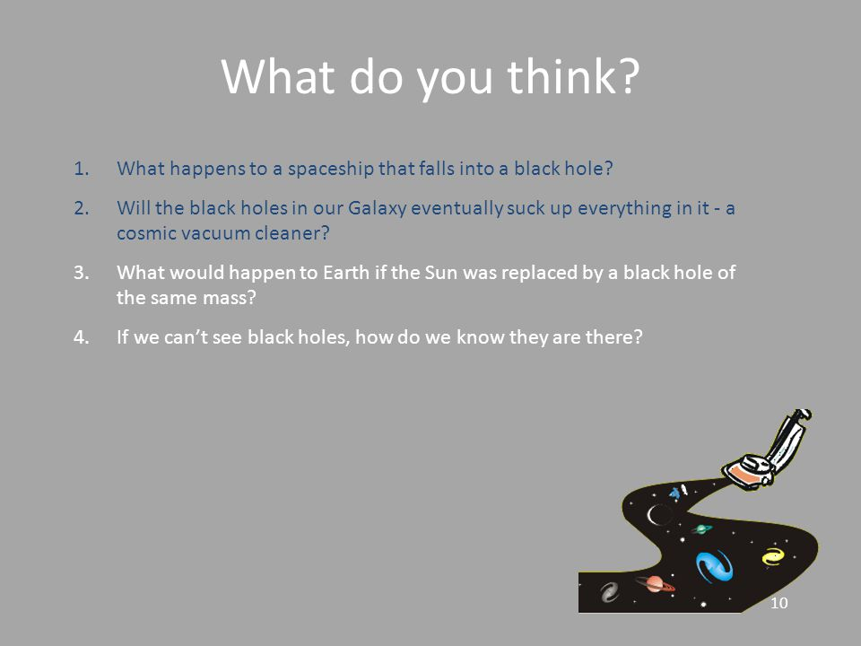 10 What do you think. 1.What happens to a spaceship that falls into a black hole.