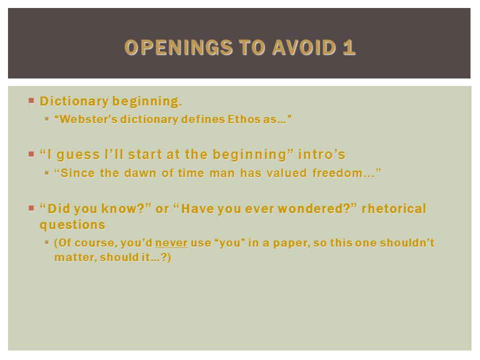  Dictionary beginning.