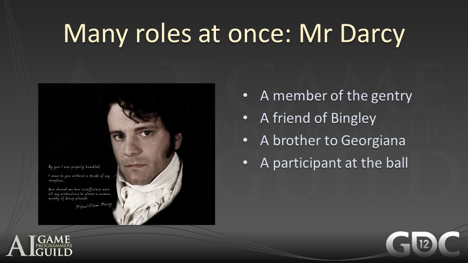 Many roles at once: Mr Darcy A member of the gentry A member of the gentry A friend of Bingley A friend of Bingley A brother to Georgiana A brother to