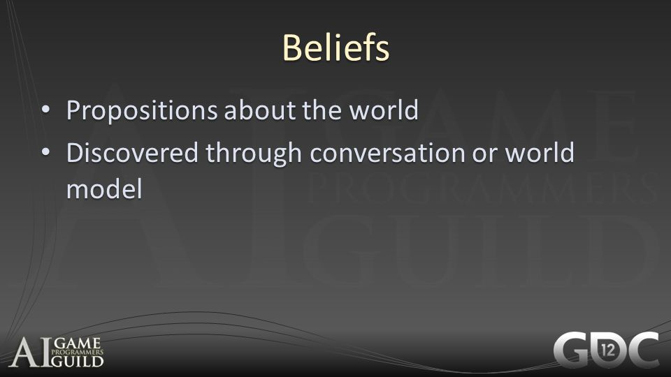 Beliefs Propositions about the world Propositions about the world Discovered through conversation or world model Discovered through conversation or wo