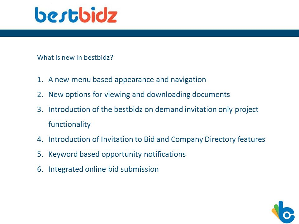 What is new in bestbidz.