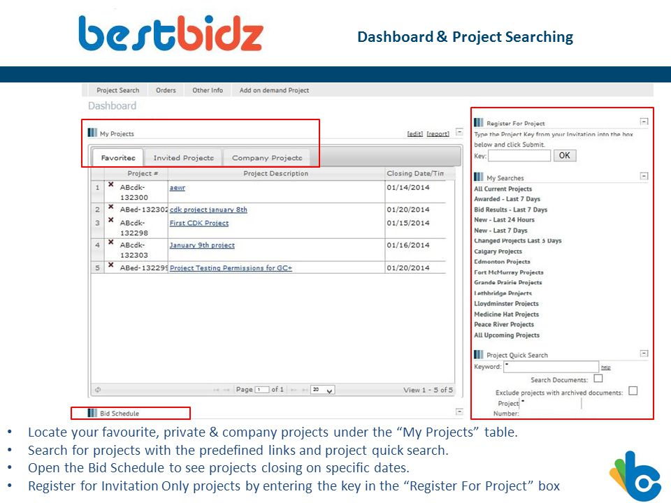 Dashboard & Project Searching Locate your favourite, private & company projects under the My Projects table.