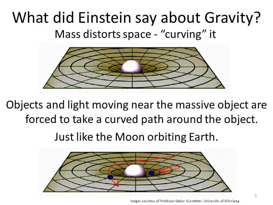 """5 What did Einstein say about Gravity? Mass distorts space - """"curving"""" it Objects and light moving near the massive object are forced to take a curved"""