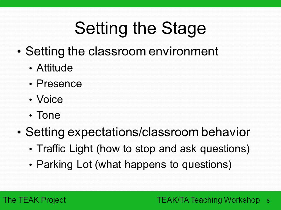 The TEAK Project 8 TEAK/TA Teaching Workshop Setting the Stage Setting the classroom environment Attitude Presence Voice Tone Setting expectations/classroom behavior Traffic Light (how to stop and ask questions) Parking Lot (what happens to questions)