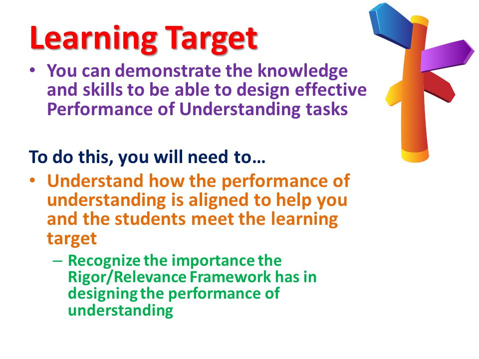 Learning Target You can demonstrate the knowledge and skills to be able to design effective Performance of Understanding tasks To do this, you will need to… Understand how the performance of understanding is aligned to help you and the students meet the learning target – Recognize the importance the Rigor/Relevance Framework has in designing the performance of understanding