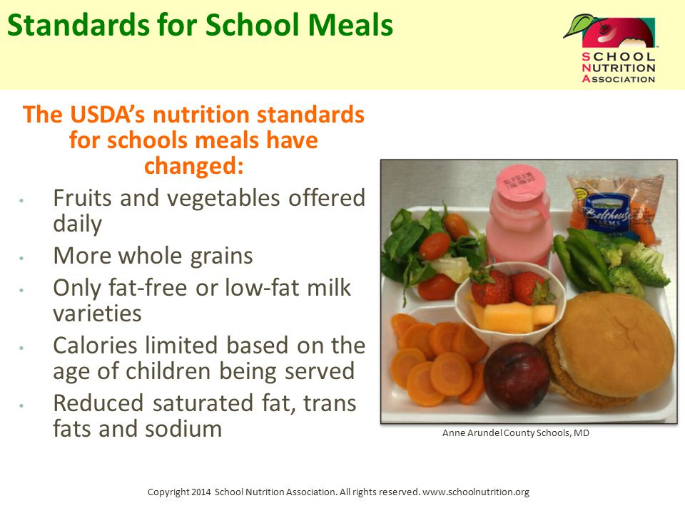 Copyright 2014 School Nutrition Association. All rights reserved. www.schoolnutrition.org Standards for School Meals The USDA's nutrition standards fo