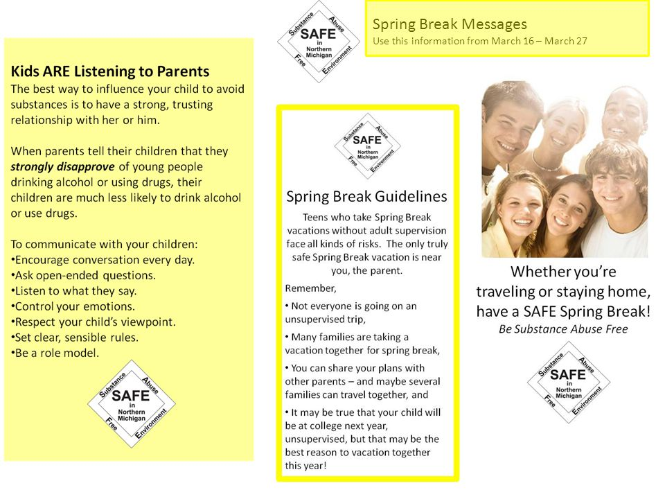Spring Break Messages Use this information from March 16 – March 27