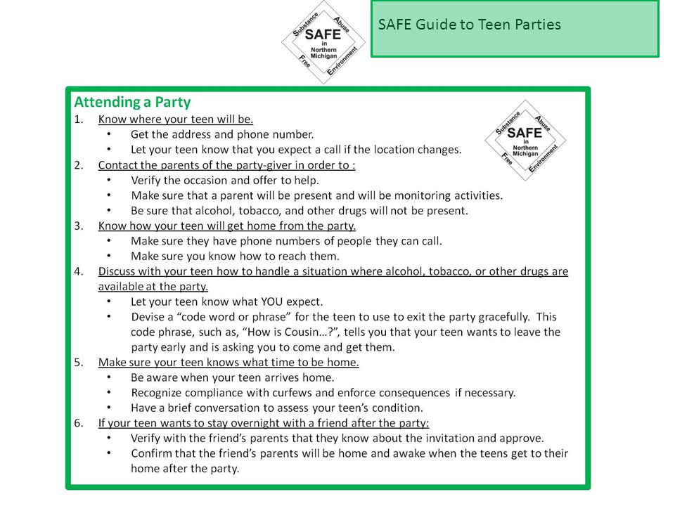 SAFE Guide to Teen Parties