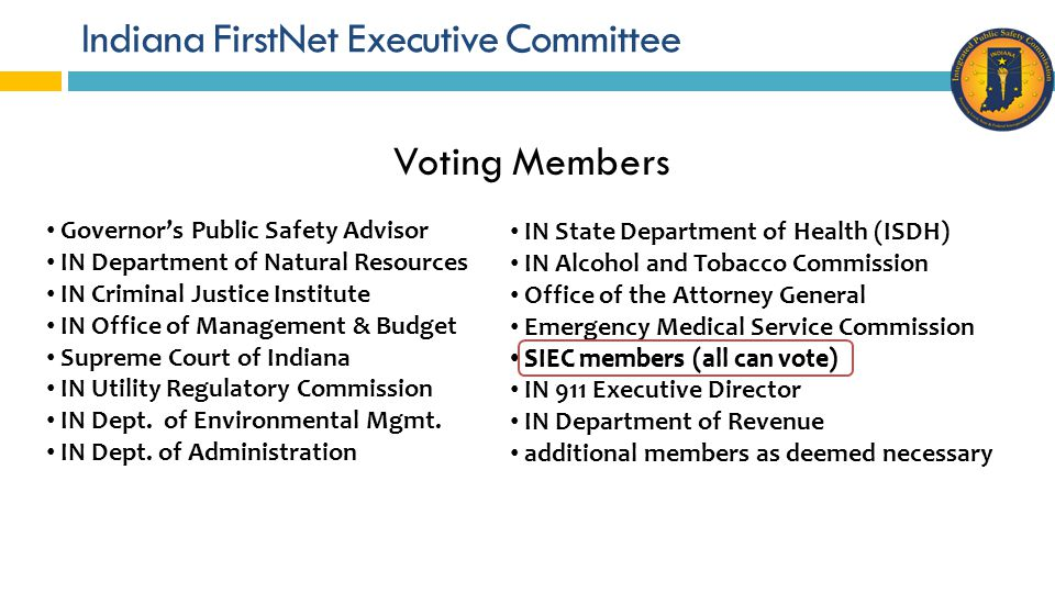 Indiana FirstNet Executive Committee One representative from each of the 10 Indiana Homeland Security Districts State Agencies – INDOT, IDHS, ISDH, ISP Indiana National Guard Red Cross Local Public Safety Answering Point (PSAPs) Amateur Radio Statewide Interoperability Executive Committee