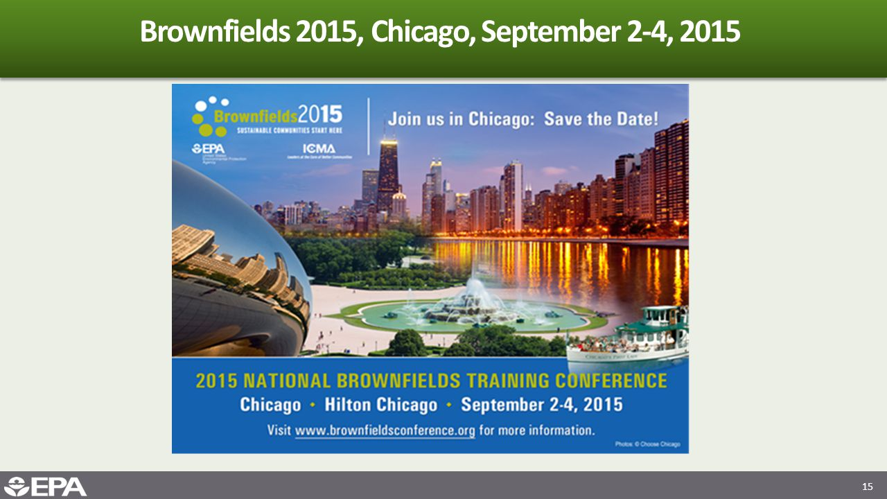 15 Brownfields 2015, Chicago, September 2-4, 2015
