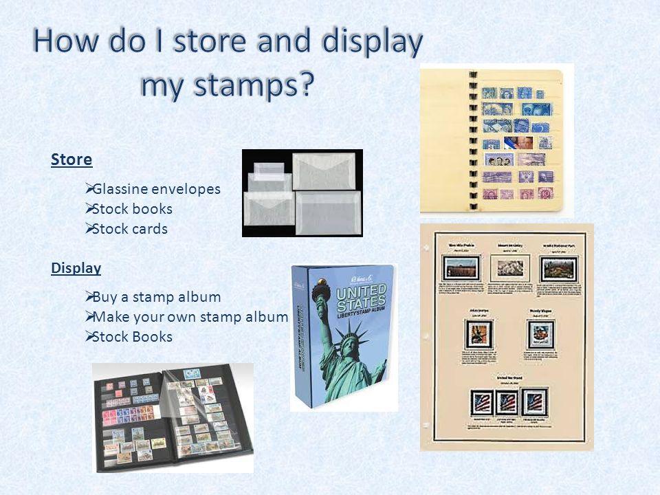 Store  Glassine envelopes  Stock books  Stock cards Display  Buy a stamp album  Make your own stamp album  Stock Books