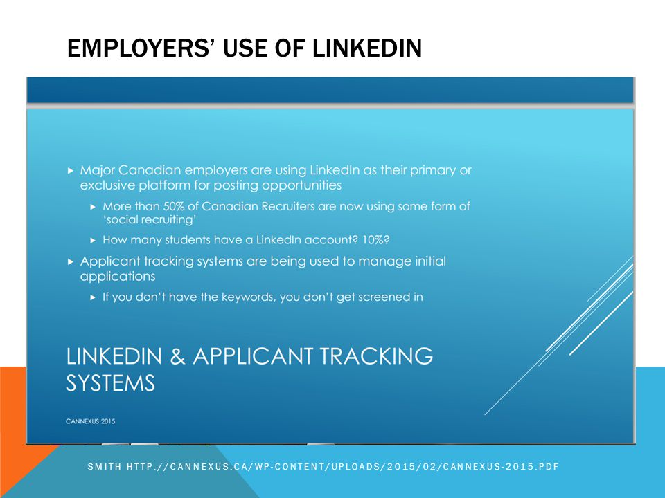 EMPLOYERS' USE OF LINKEDIN SMITH HTTP://CANNEXUS.CA/WP-CONTENT/UPLOADS/2015/02/CANNEXUS-2015.PDF