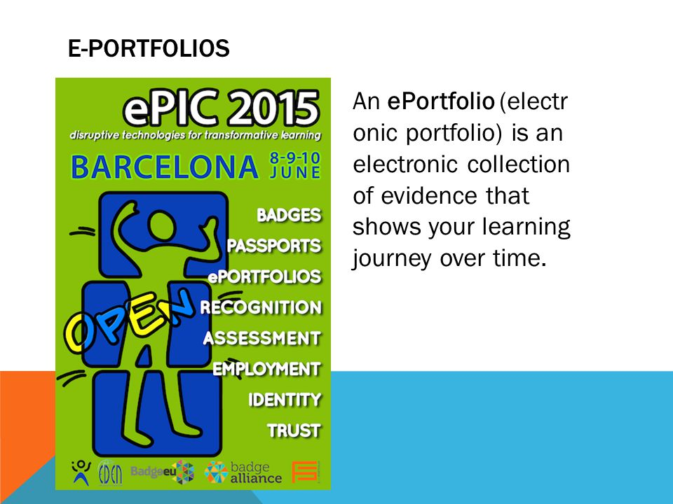 An ePortfolio (electr onic portfolio) is an electronic collection of evidence that shows your learning journey over time.