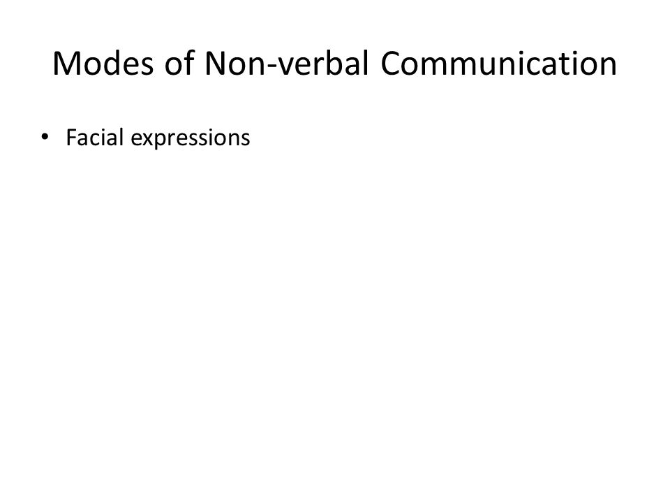 Modes of Non-verbal Communication Facial expressions