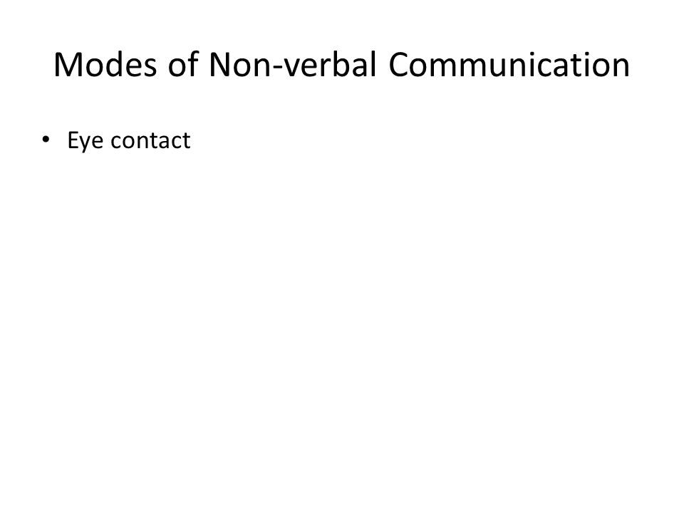 Modes of Non-verbal Communication Eye contact