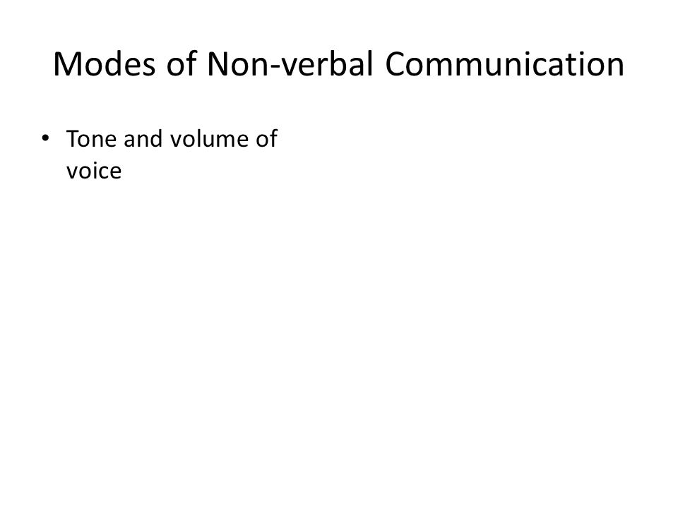Modes of Non-verbal Communication Tone and volume of voice