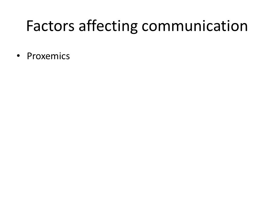 Factors affecting communication Proxemics