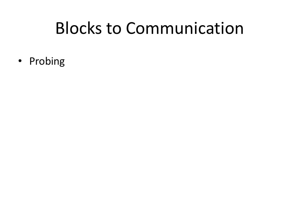 Blocks to Communication Probing