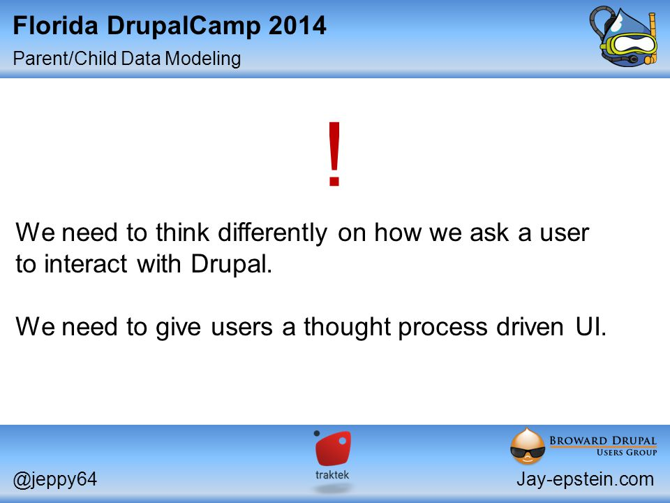 Parent/Child Data Modeling Florida DrupalCamp 2014 @jeppy64Jay-epstein.com Intermediate: Site Building Thanks for watching