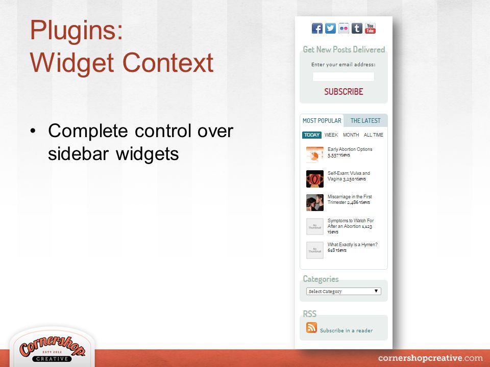 Plugins: Widget Context Complete control over sidebar widgets