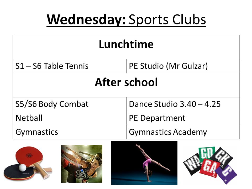 Wednesday: Sports Clubs Lunchtime S1 – S6 Table TennisPE Studio (Mr Gulzar) After school S5/S6 Body CombatDance Studio 3.40 – 4.25 NetballPE Department GymnasticsGymnastics Academy