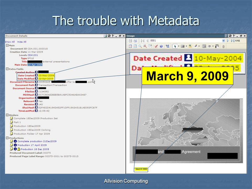 Allvision Computing The trouble with Metadata March 9, 2009