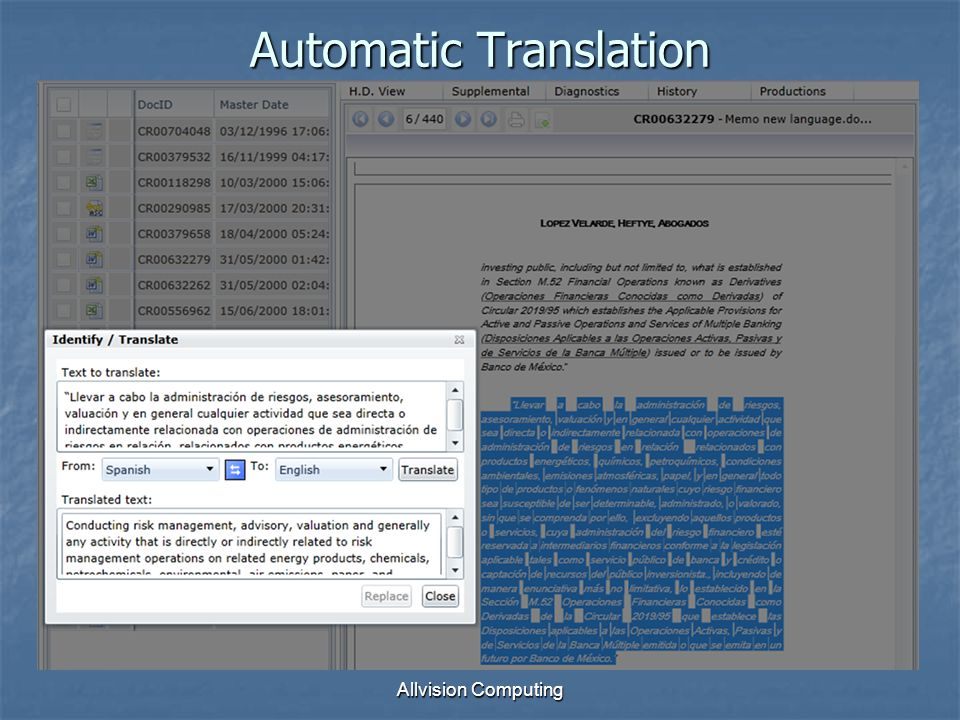 Allvision Computing Automatic Translation