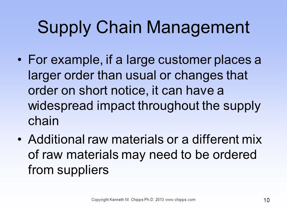 Supply Chain Management For example, if a large customer places a larger order than usual or changes that order on short notice, it can have a widespread impact throughout the supply chain Additional raw materials or a different mix of raw materials may need to be ordered from suppliers Copyright Kenneth M.