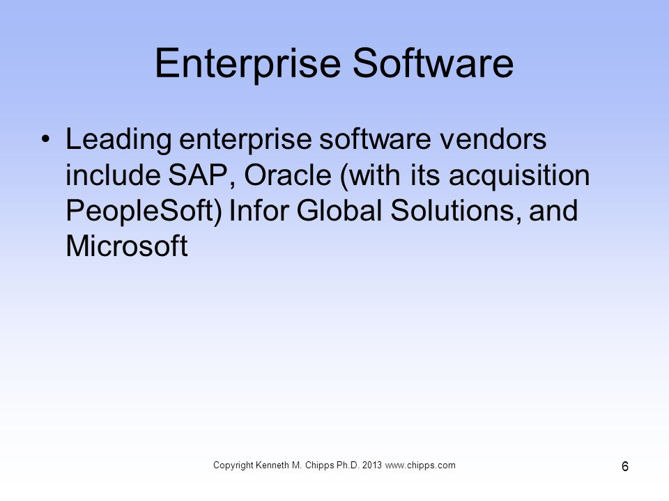 Enterprise Software Leading enterprise software vendors include SAP, Oracle (with its acquisition PeopleSoft) Infor Global Solutions, and Microsoft Copyright Kenneth M.