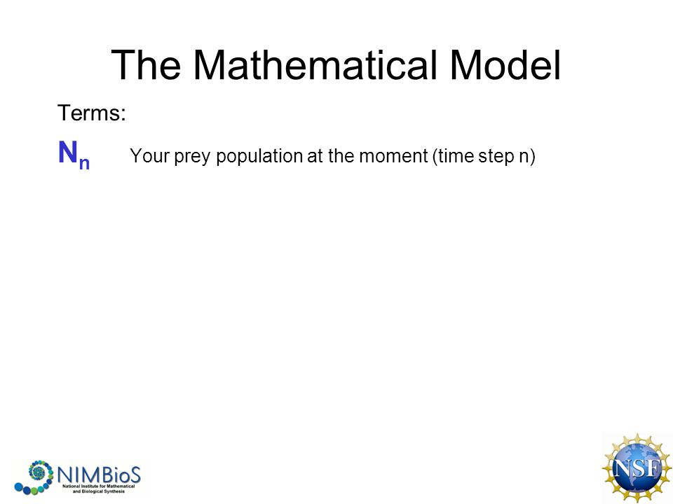 The Mathematical Model Terms: N n Your prey population at the moment (time step n)