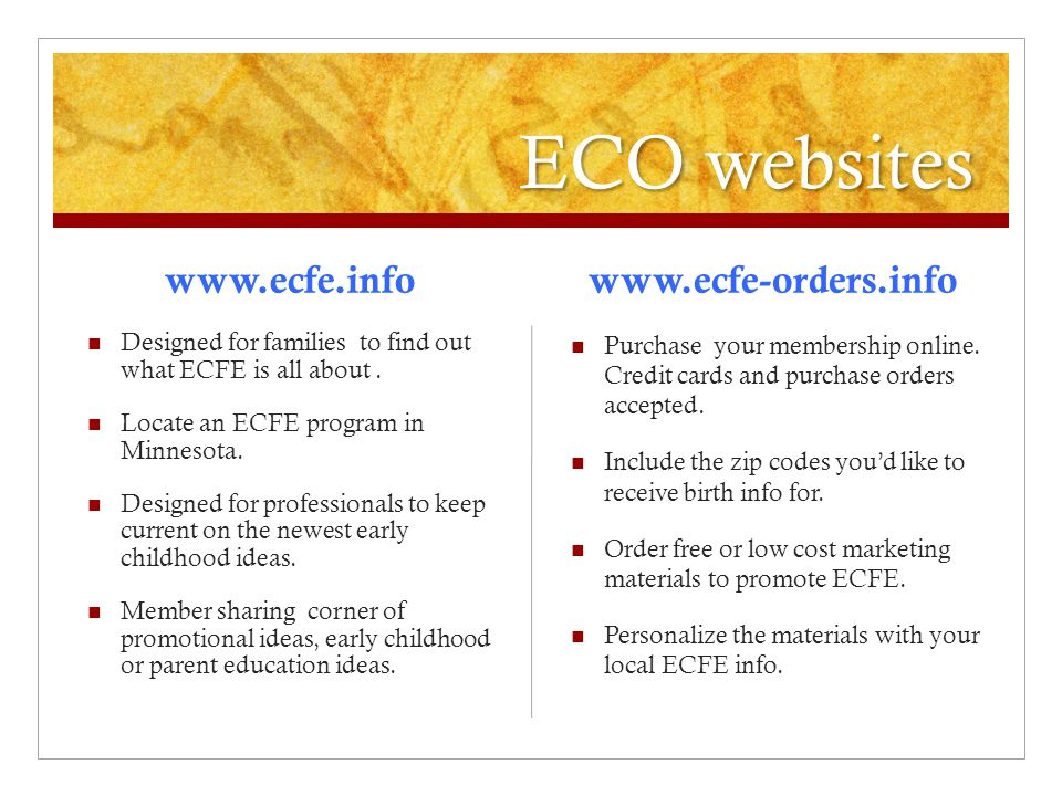 ECO websites www.ecfe.info Designed for families to find out what ECFE is all about.