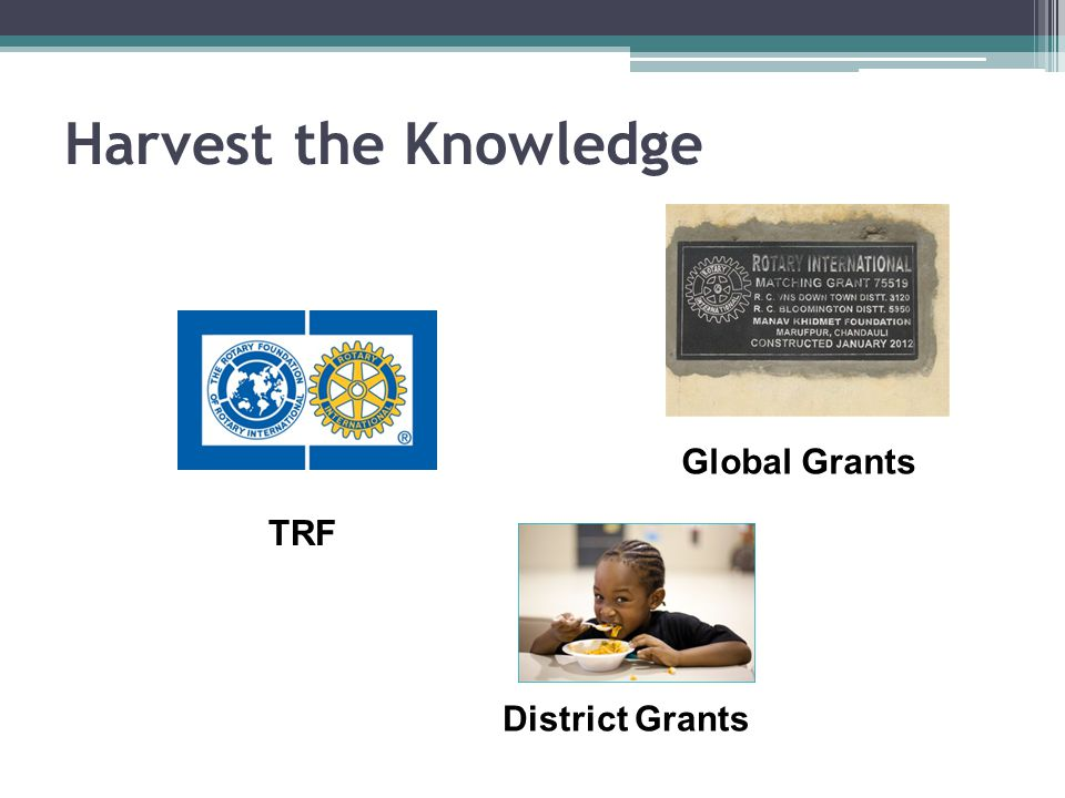 2014-15 Global Grants 10 Projects involving 21 different Clubs $188,190 Club Funds; $638,175 Total Leveraging 3.4 times About $17,000 in Global Funds remain plus $88,000 Carryover = $105,000 Maximum $10,000 DDF per project