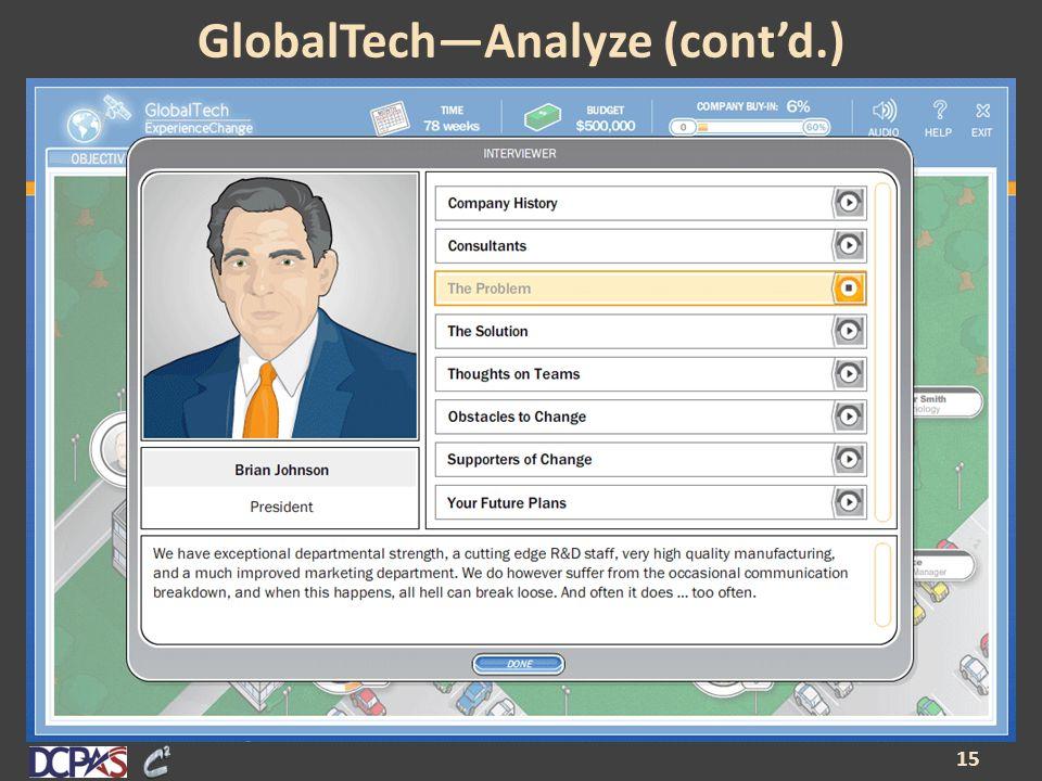 GlobalTech—Analyze (cont'd.) 15